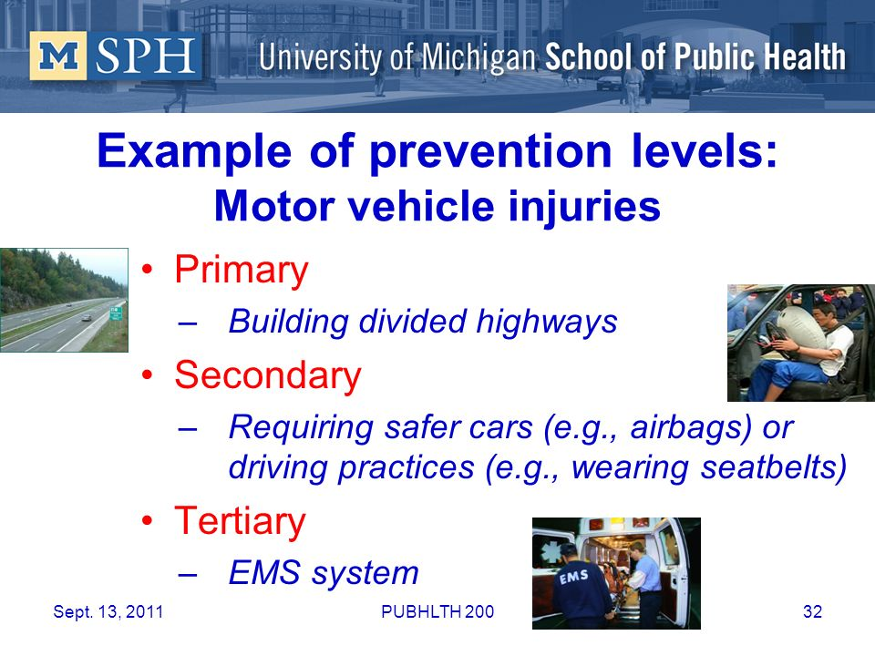 Example of prevention levels: Motor vehicle injuries