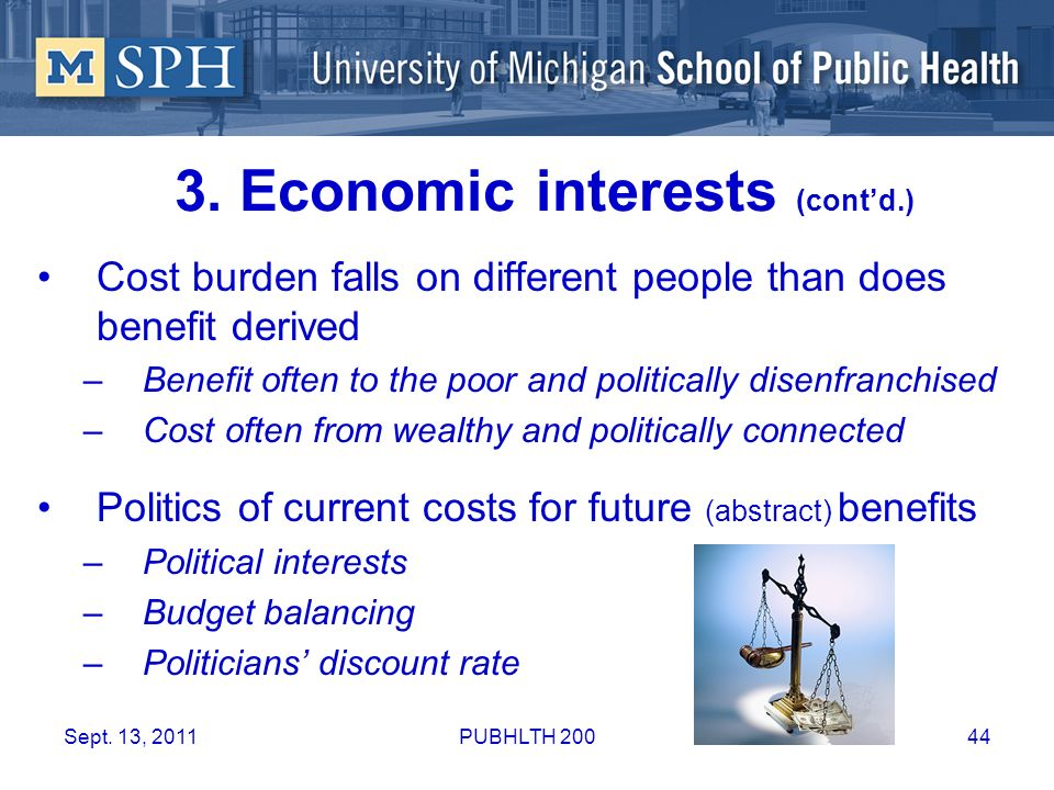 3. Economic interests (cont'd.)