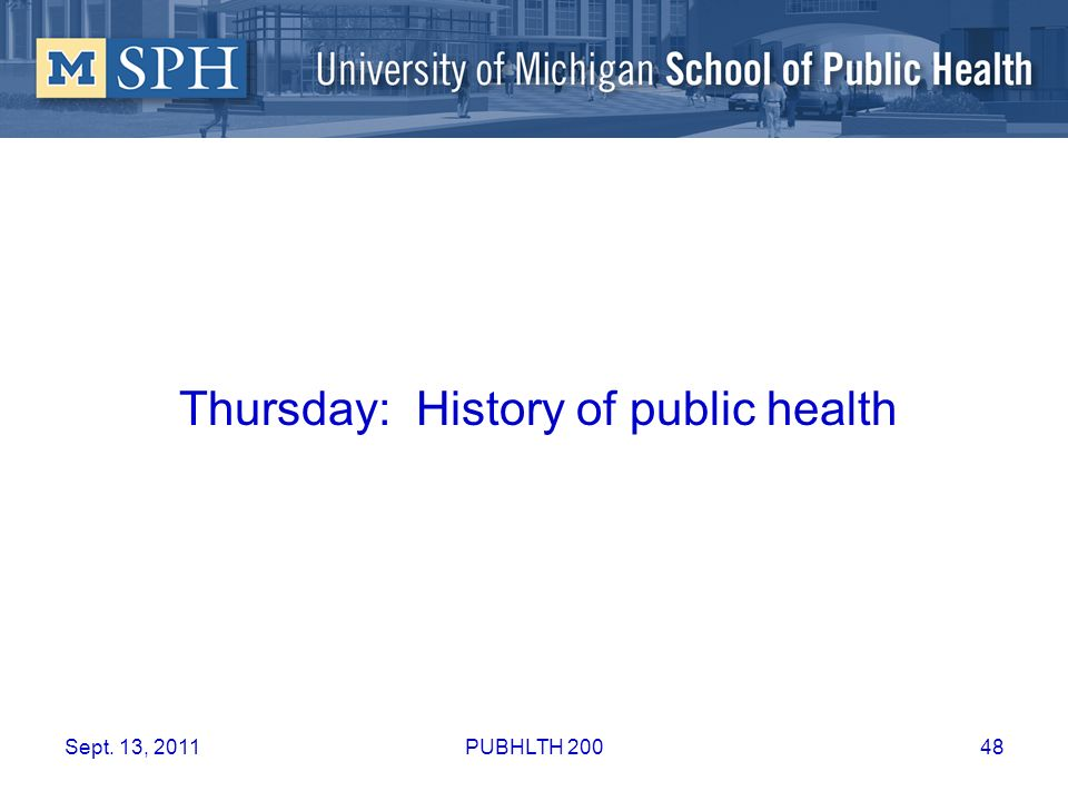 Thursday: History of public health