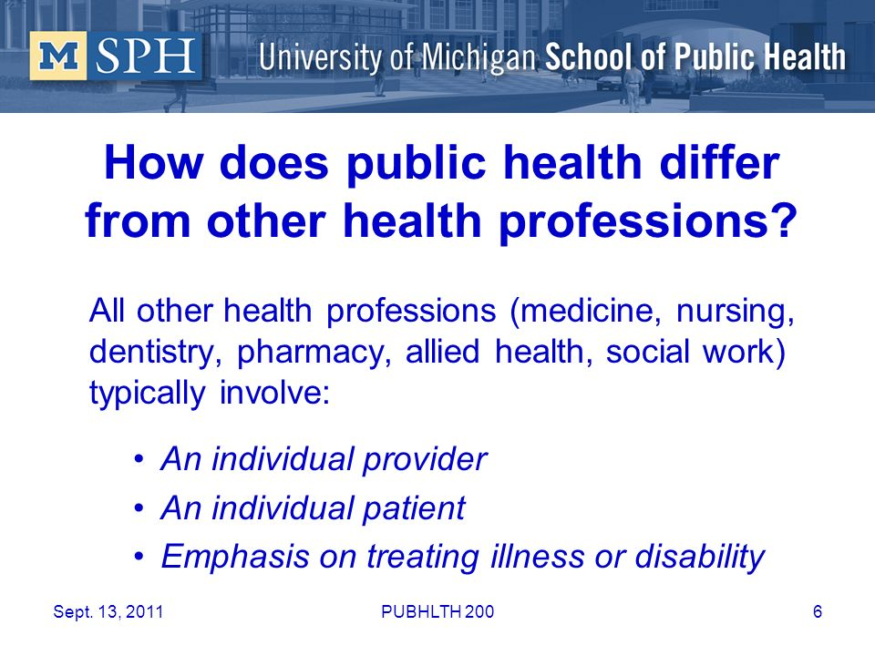 How does public health differ from other health professions