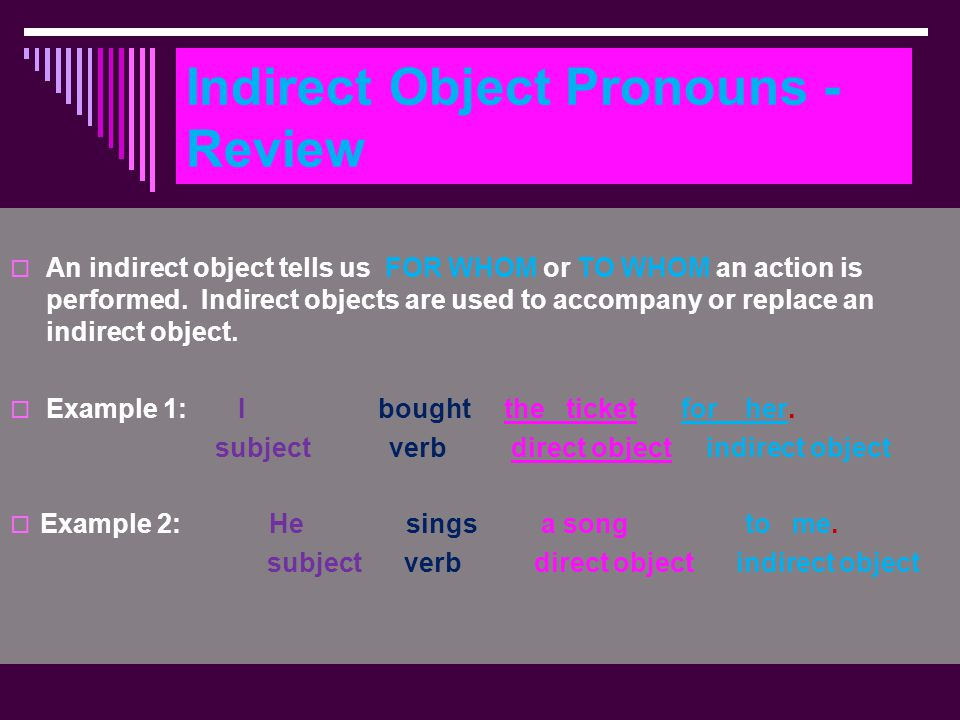 Indirect Object Pronouns - Review