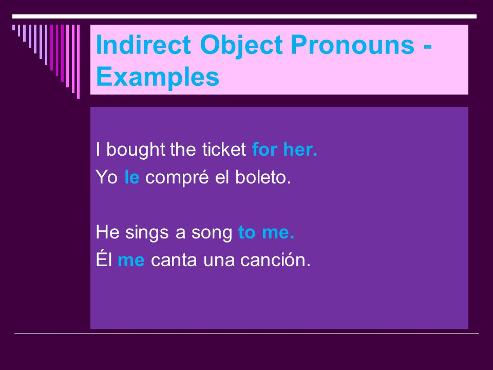 Indirect Object Pronouns - Examples
