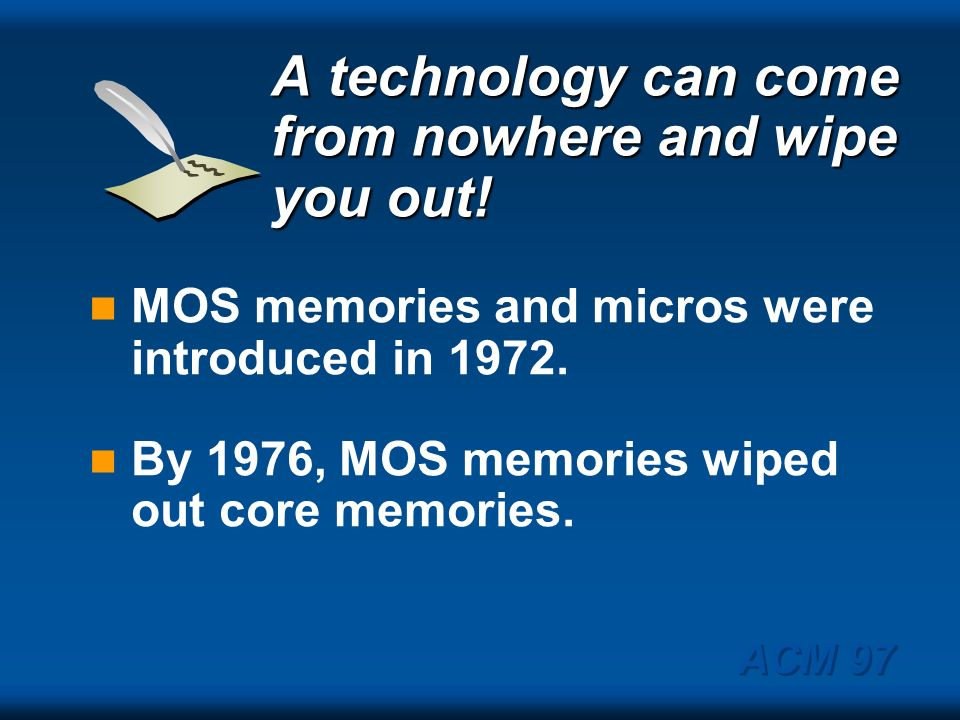 A technology can come from nowhere and wipe you out!