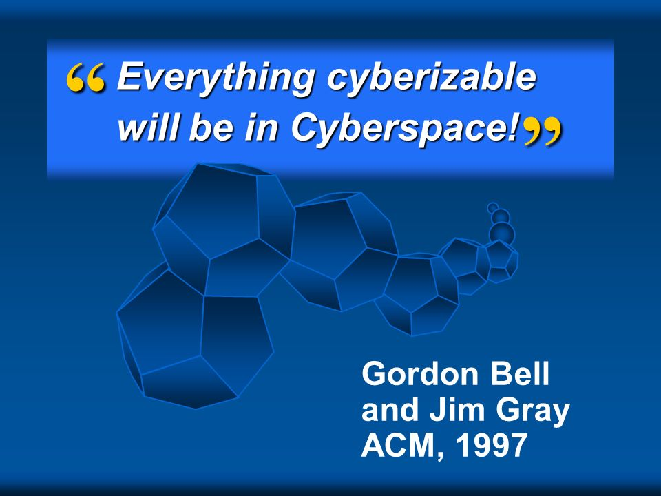 Everything cyberizable will be in Cyberspace!