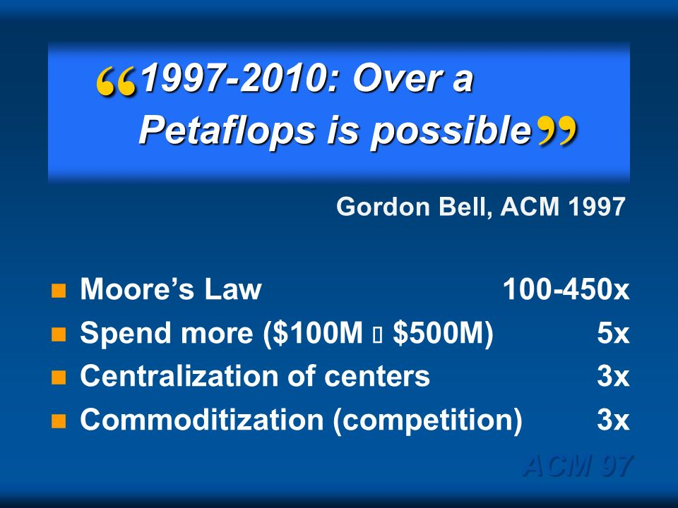 1997-2010: Over a Petaflops is possible Moore's Law 100-450x