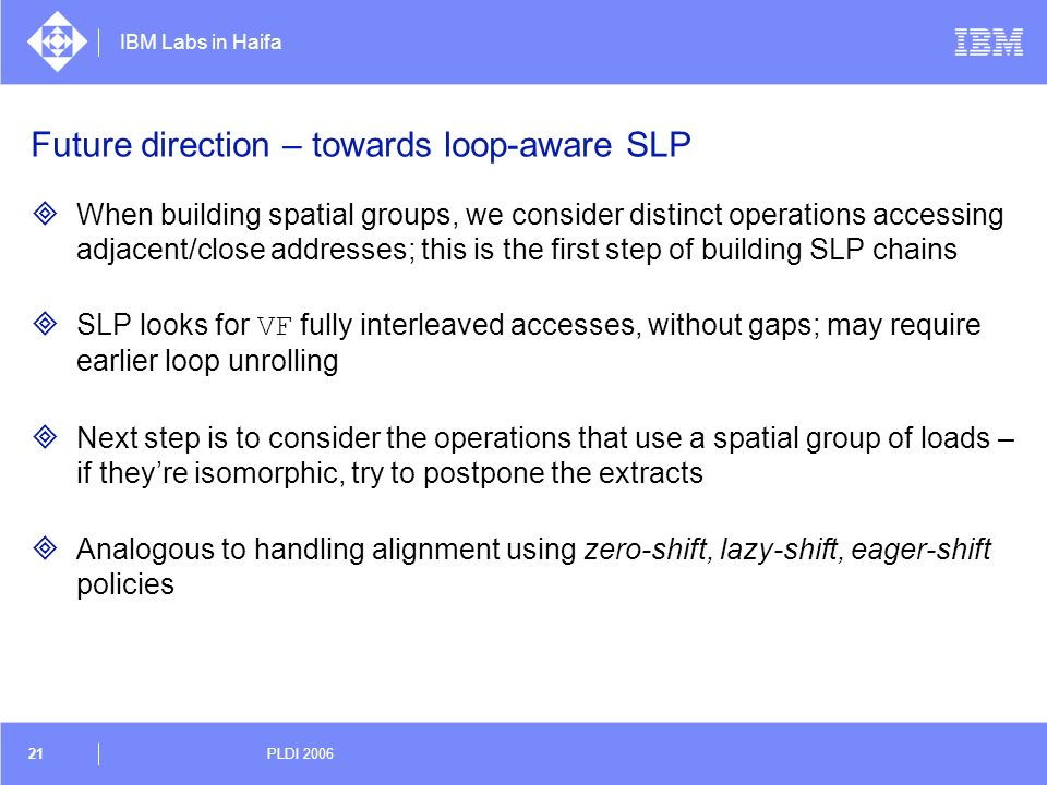Future direction – towards loop-aware SLP