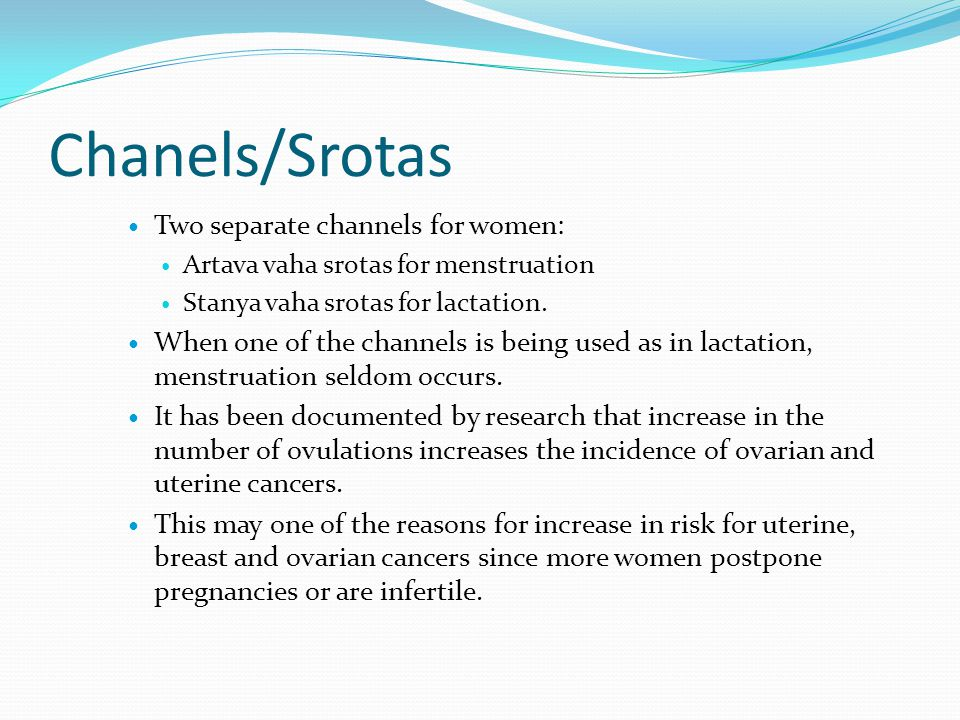 Chanels/Srotas Two separate channels for women: