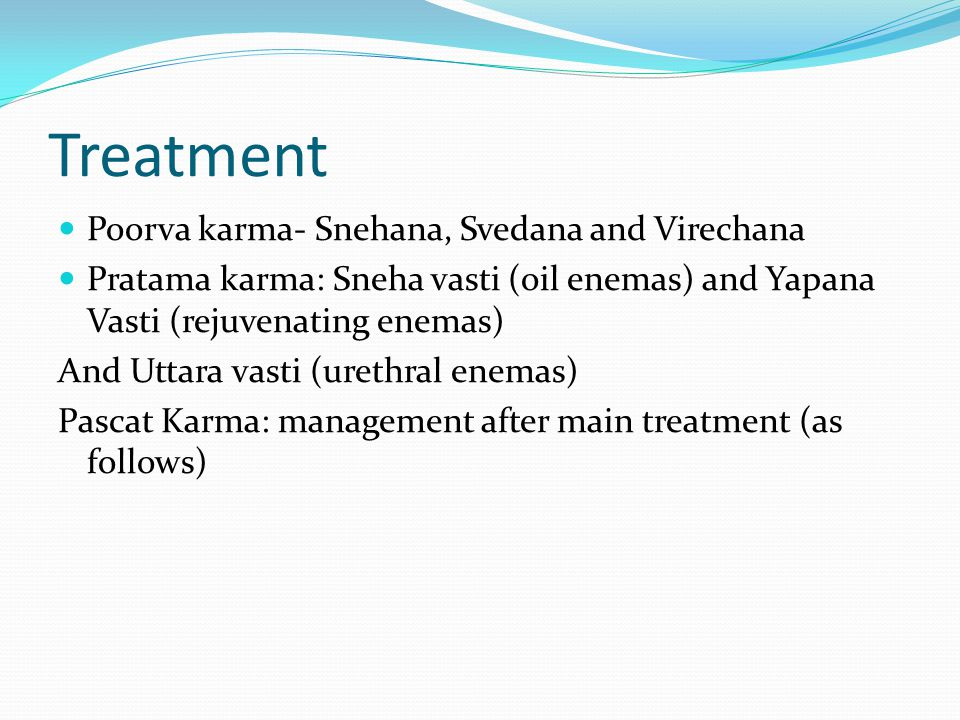 Treatment Poorva karma- Snehana, Svedana and Virechana