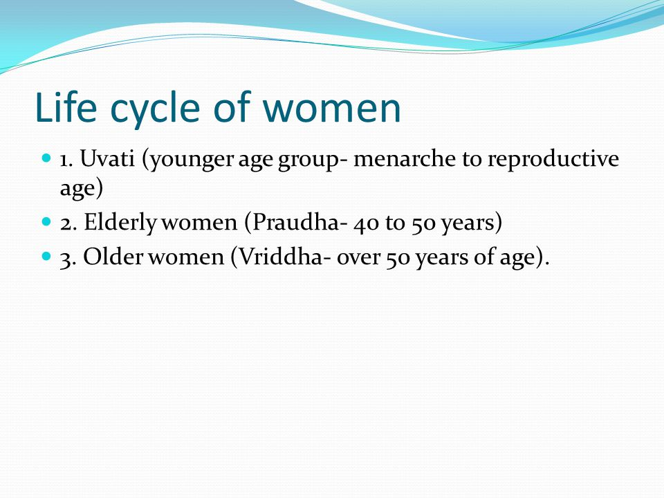Life cycle of women 1. Uvati (younger age group- menarche to reproductive age) 2. Elderly women (Praudha- 40 to 50 years)