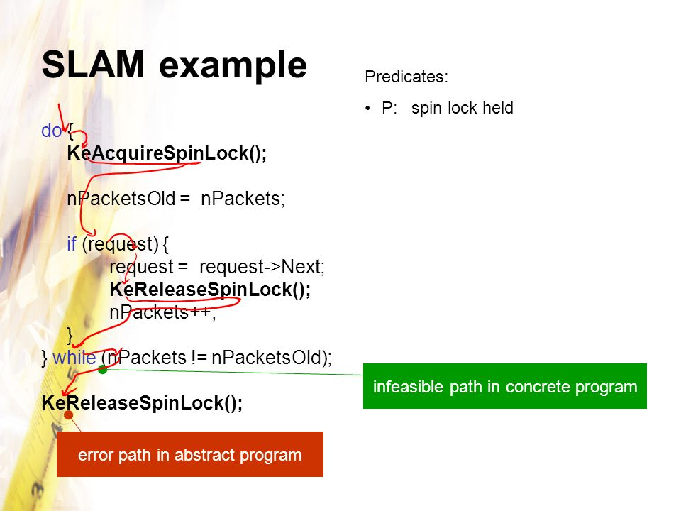 SLAM example do { KeAcquireSpinLock(); nPacketsOld = nPackets;