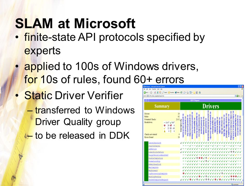 SLAM at Microsoft finite-state API protocols specified by experts