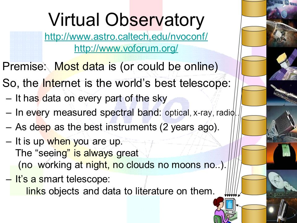 Virtual Observatory http://www.astro.caltech.edu/nvoconf/ http://www.voforum.org/