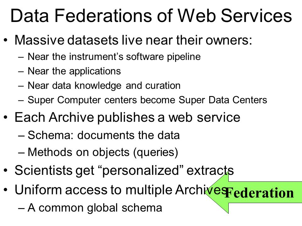 Data Federations of Web Services