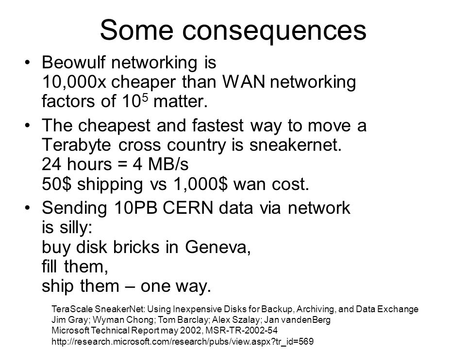 Some consequences Beowulf networking is 10,000x cheaper than WAN networking factors of 105 matter.