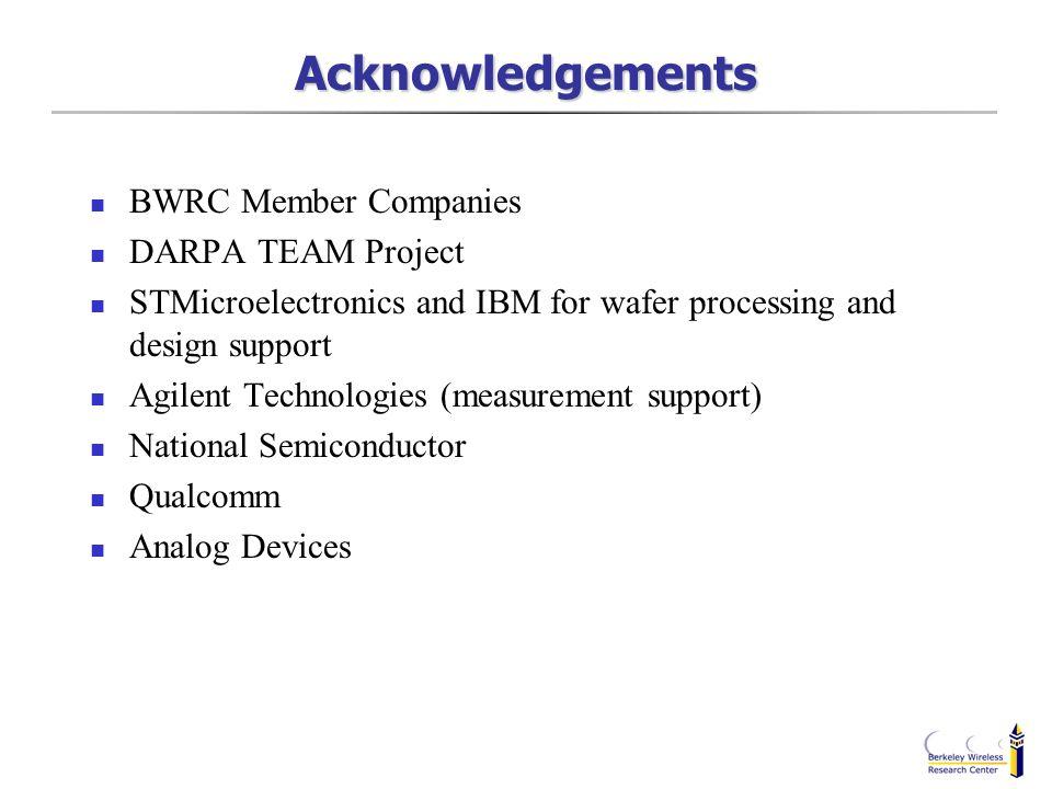 Acknowledgements BWRC Member Companies DARPA TEAM Project