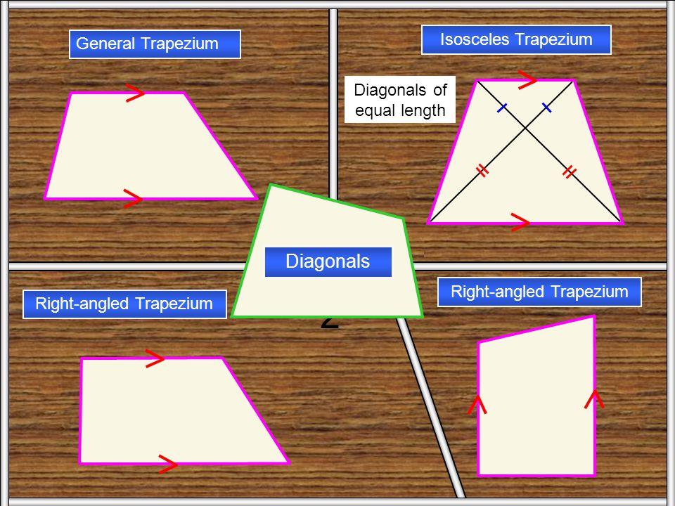Trapezium 2 Diagonals Isosceles Trapezium General Trapezium