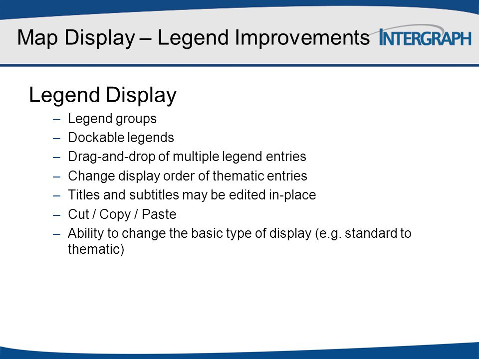 Map Display – Legend Improvements