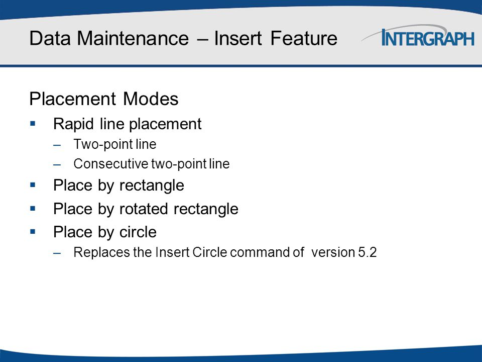 Data Maintenance – Insert Feature