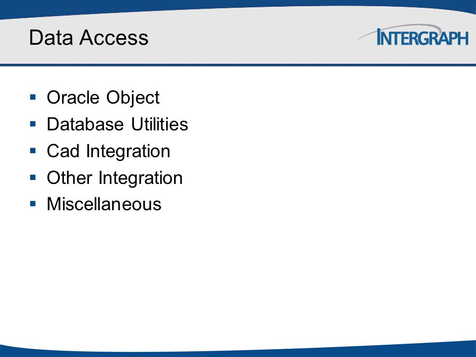 Data Access Oracle Object Database Utilities Cad Integration