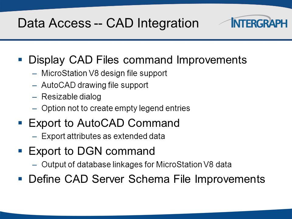 Data Access -- CAD Integration