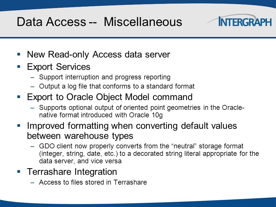 Data Access -- Miscellaneous