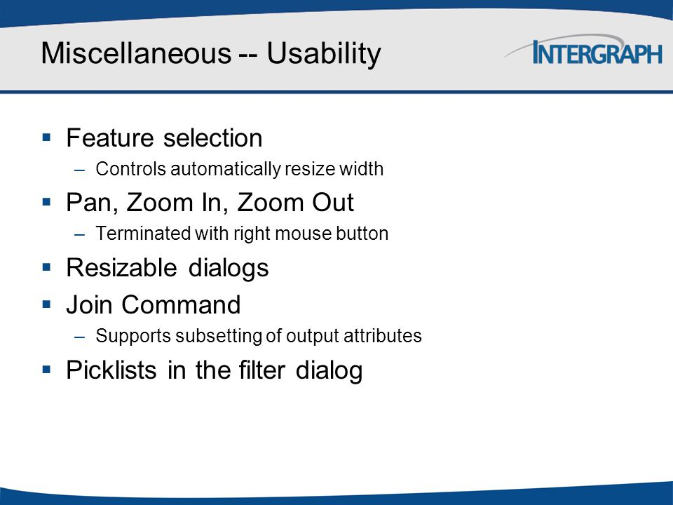 Miscellaneous -- Usability