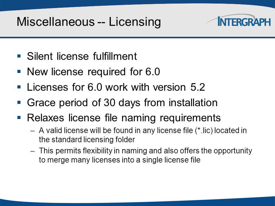 Miscellaneous -- Licensing