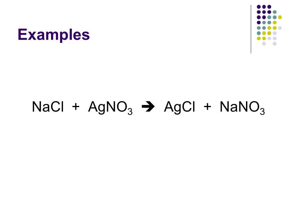 Examples NaCl + AgNO3  AgCl + NaNO3