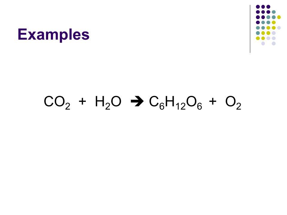 Examples CO2 + H2O  C6H12O6 + O2