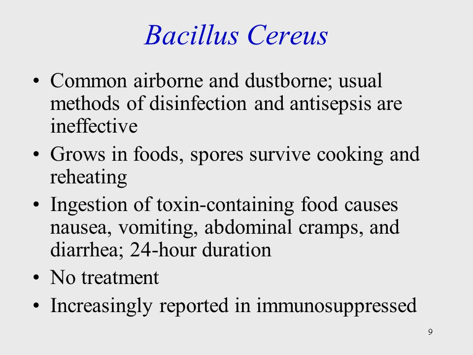 Bacillus Cereus Common airborne and dustborne; usual methods of disinfection and antisepsis are ineffective.