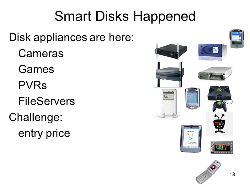 Smart Disks Happened Disk appliances are here: Cameras Games PVRs