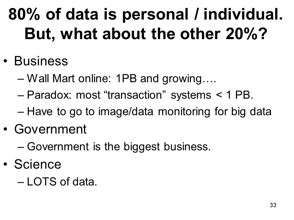 80% of data is personal / individual. But, what about the other 20%