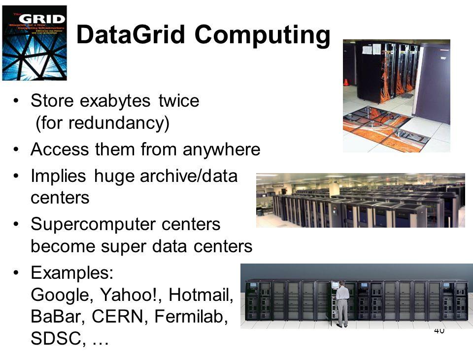 DataGrid Computing Store exabytes twice (for redundancy)