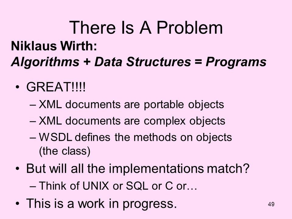 There Is A Problem Niklaus Wirth: Algorithms + Data Structures = Programs. GREAT!!!! XML documents are portable objects.