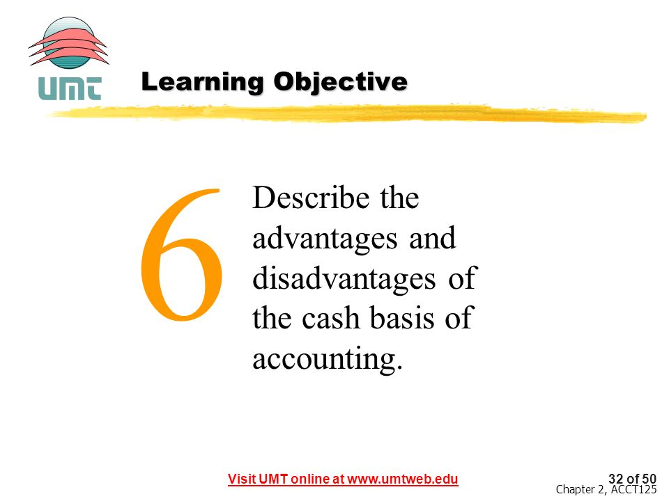 Learning Objective 6 Describe the advantages and disadvantages of the cash basis of accounting.