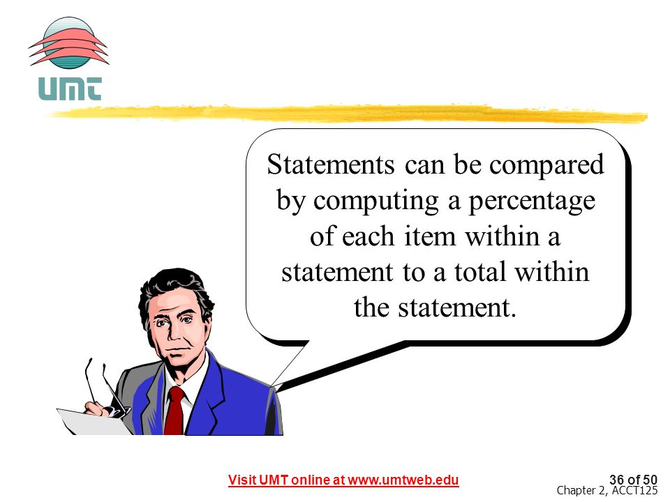 Statements can be compared by computing a percentage of each item within a statement to a total within the statement.