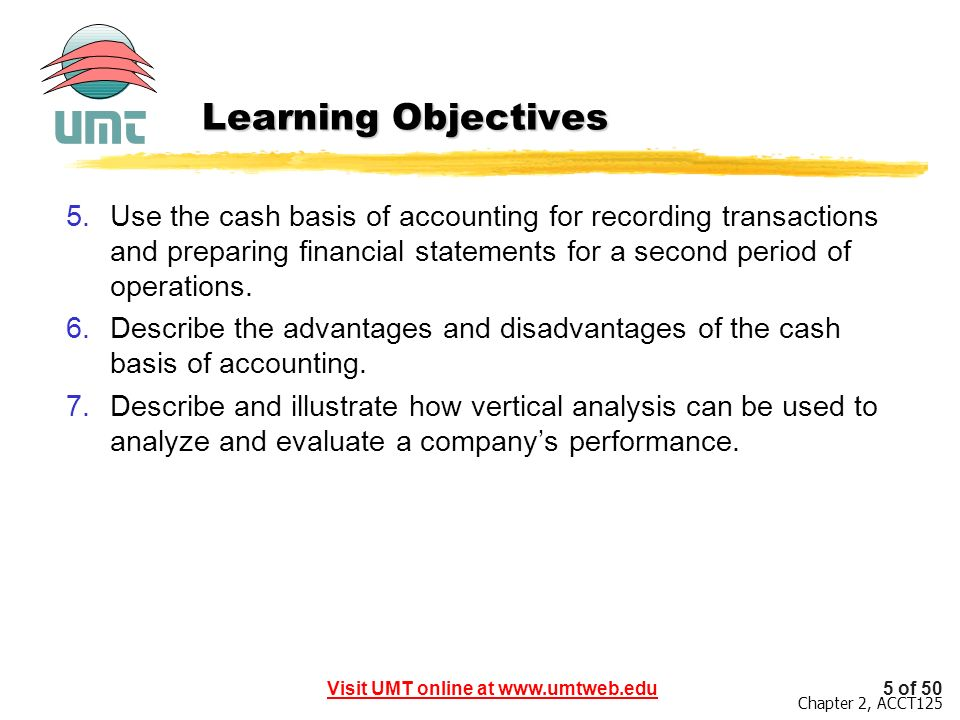 Learning Objectives Use the cash basis of accounting for recording transactions and preparing financial statements for a second period of operations.