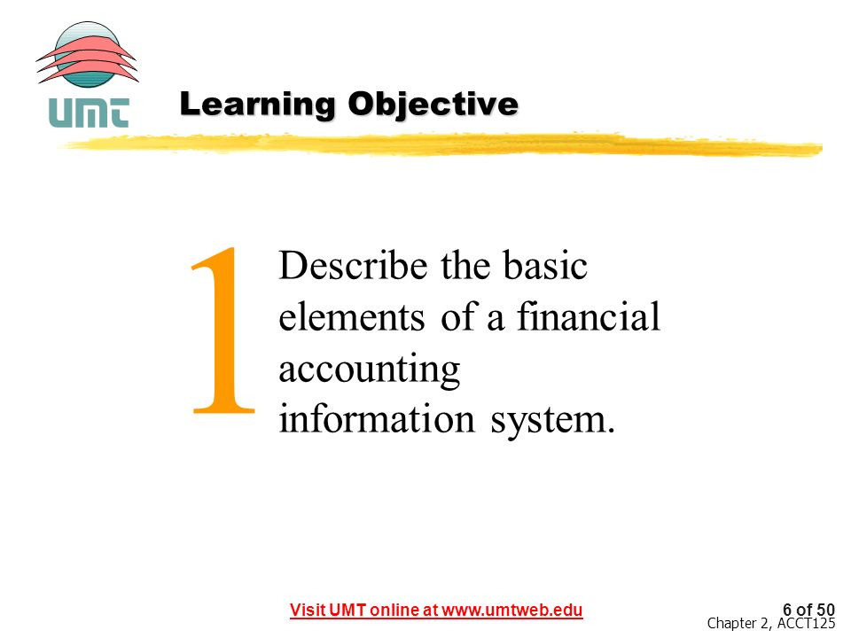 Learning Objective 1 Describe the basic elements of a financial accounting information system.