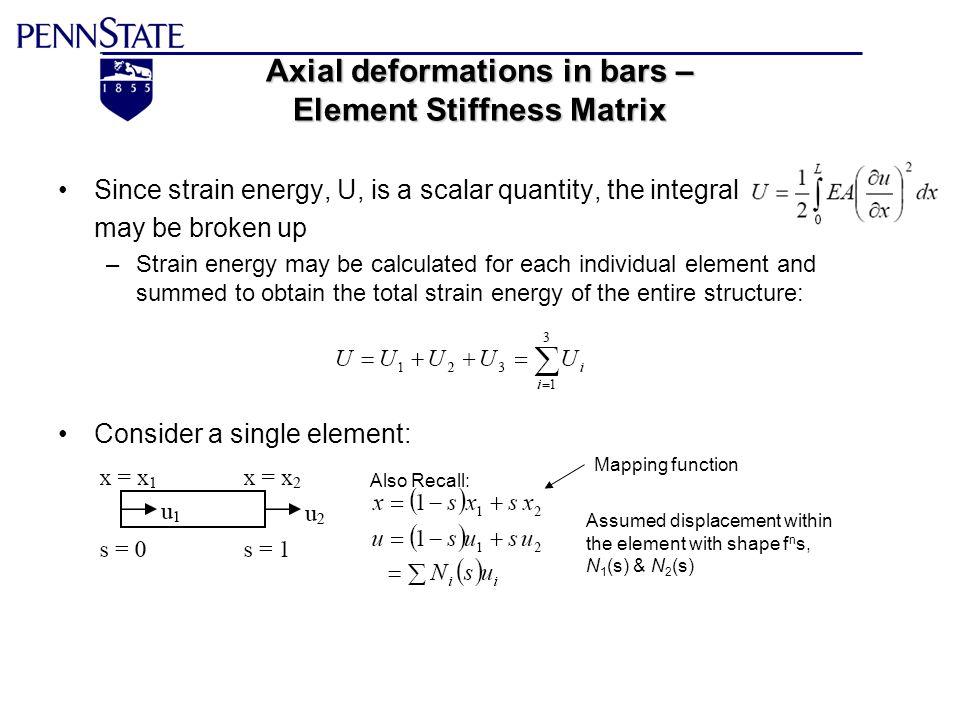 Axial deformations in bars – Element Stiffness Matrix