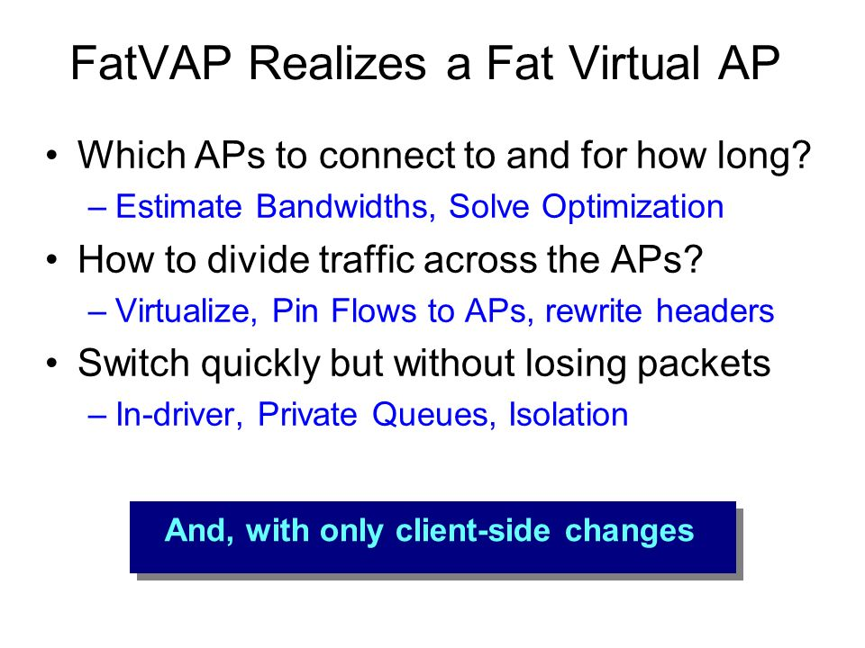 FatVAP Realizes a Fat Virtual AP