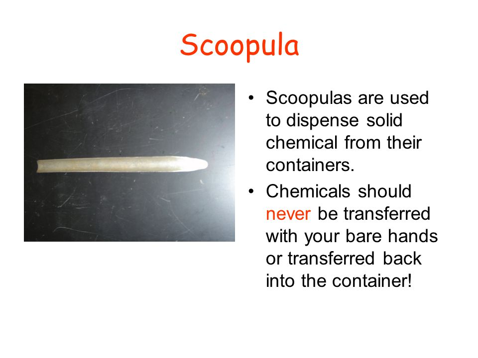 Scoopula Scoopulas are used to dispense solid chemical from their containers.