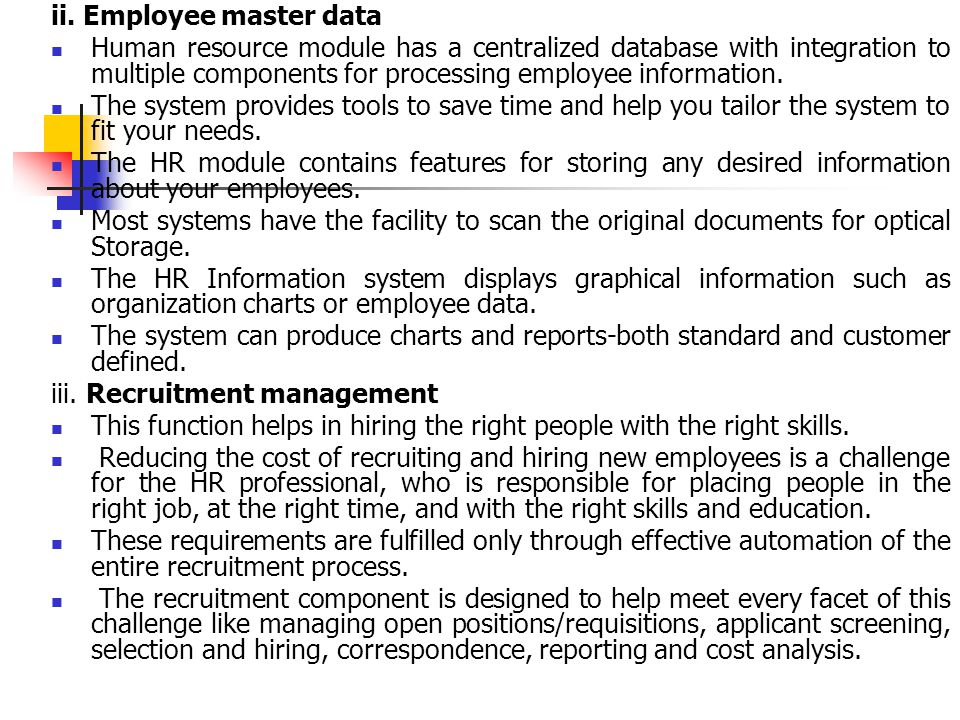 ii. Employee master data