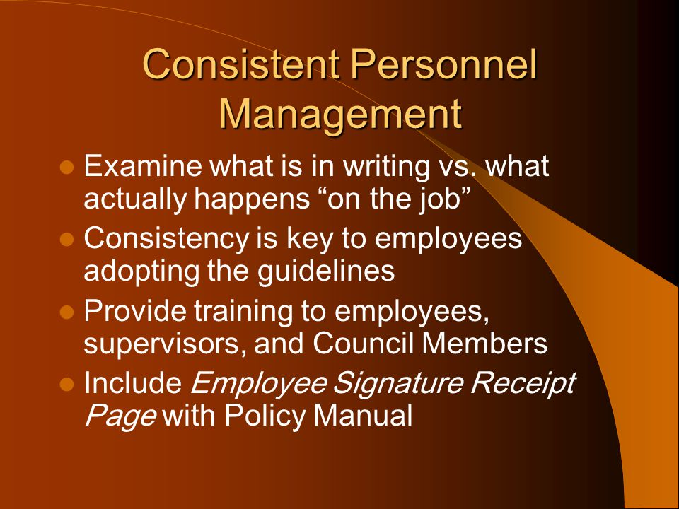 Consistent Personnel Management