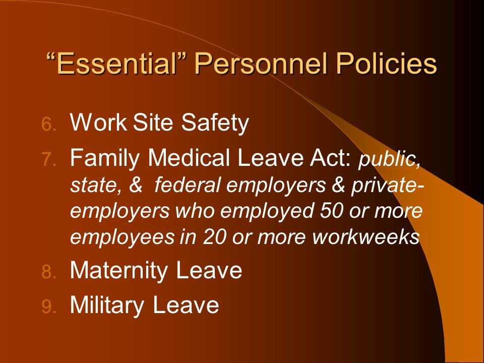 Essential Personnel Policies