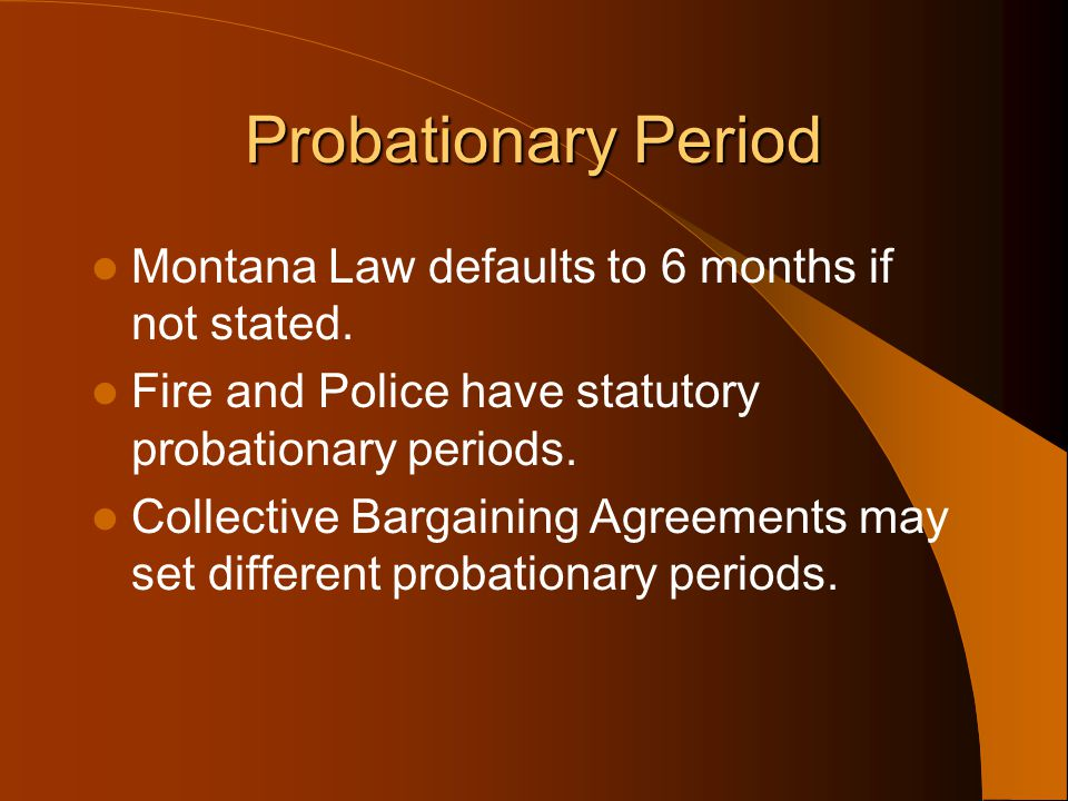 Probationary Period Montana Law defaults to 6 months if not stated.