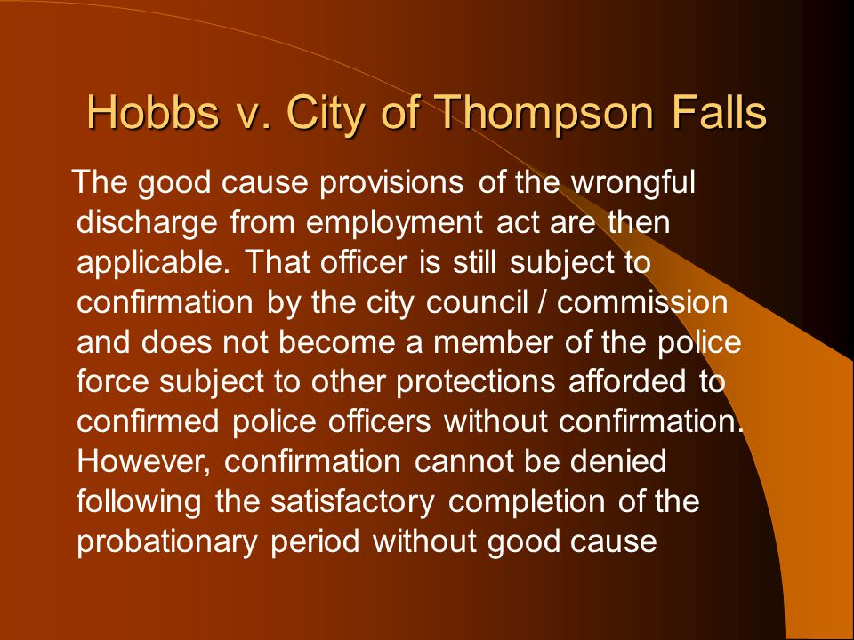 Hobbs v. City of Thompson Falls