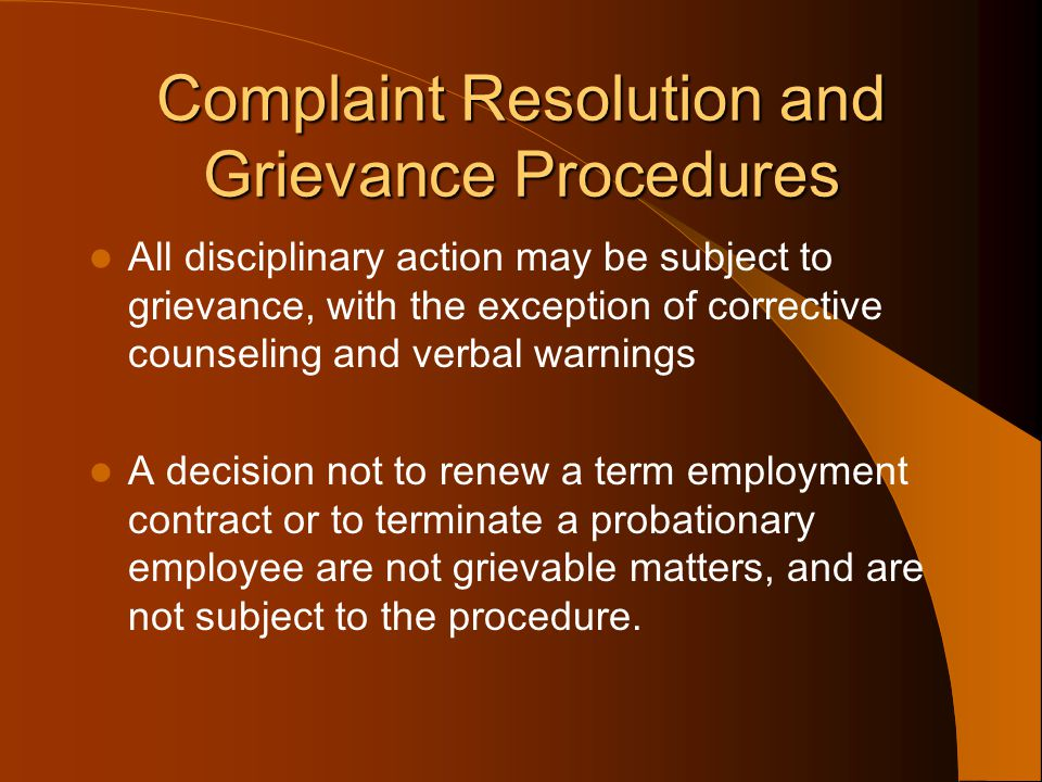 Complaint Resolution and Grievance Procedures