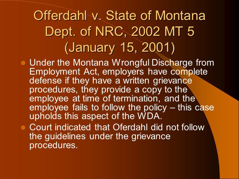 Offerdahl v. State of Montana Dept