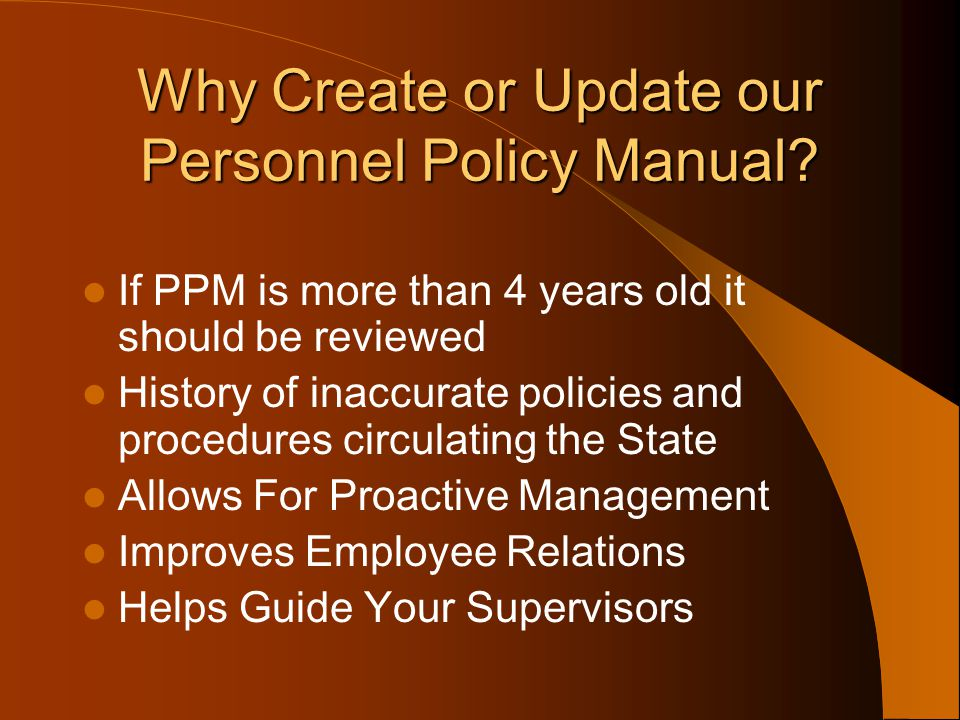 Why Create or Update our Personnel Policy Manual