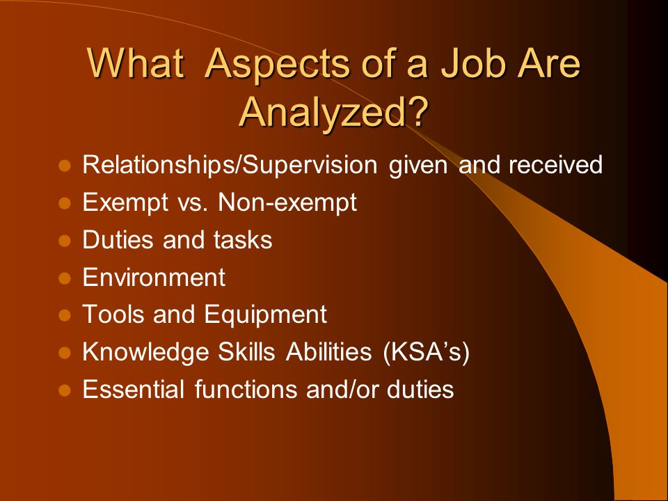 What Aspects of a Job Are Analyzed